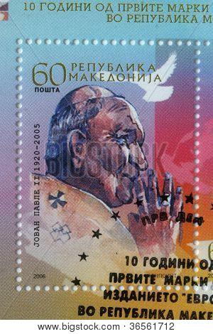 REPUBLIC OF MACEDONIA - CIRCA 2006: postage stamp printed in Macedonia showing an image of Pope John Paul II, circa 2006.