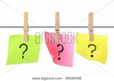 Adhesive Note Papers Hanging on Clotheline