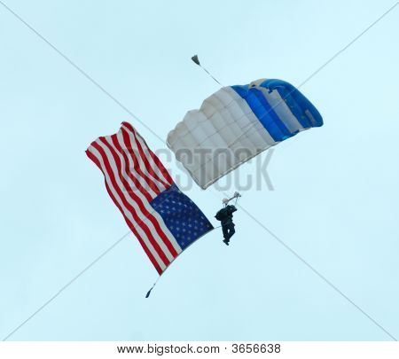 Usaf Skydiver With Us Flag