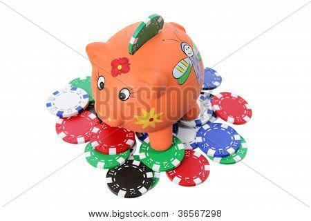 Piggybank And Poker Chips