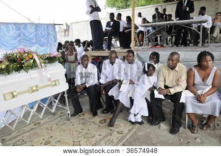The funeral in Haiti.