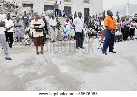 Sunday prayer in Haiti after earthquake.