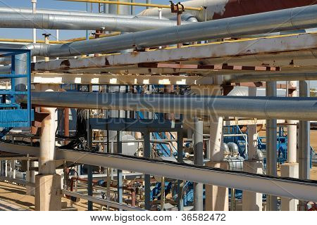 Pipework at a petrochemical plant