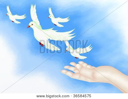 Open Hand Releasing Freedom Bird in Clear Blue Sky.