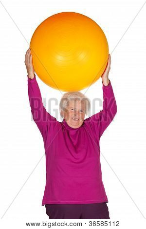 Senior Woman Exercising With Gym Ball