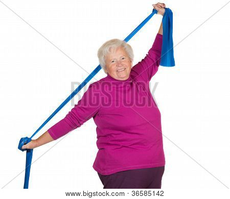 Happy Overweight Senior Exercising