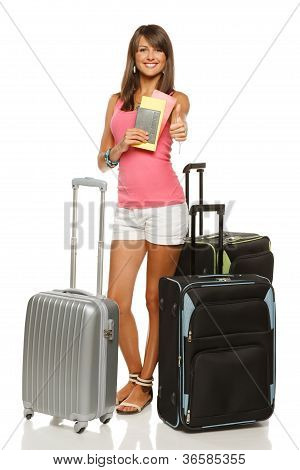 Woman leaving for vacations