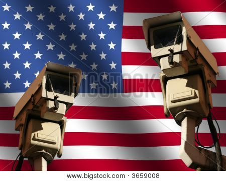 Two Cctv Cameras With Flag