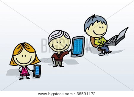 Happy doodle children with phone, tablet pc and laptop