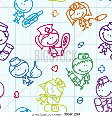 Seamless background of doodle happy children with medical tools plays hospital on school paper