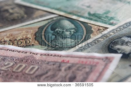 Set Of Old Greece Banknotes