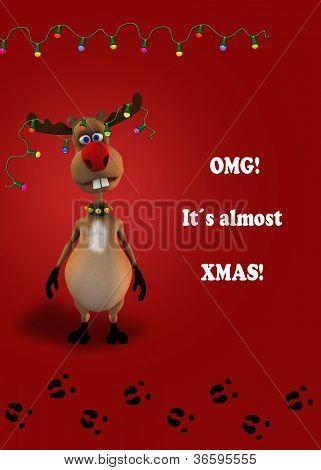 Funny Christmas Reindeer Illustration