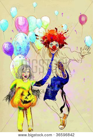 happy clown and little girl