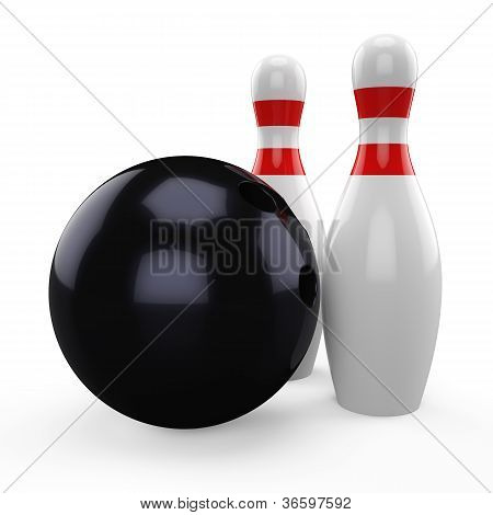 3D black bowling ball and pin isolated on white background