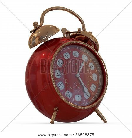 3D vintage alarm clock...Isolated white background