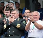 RAUBICHI, BELARUS - AUGUST 24: Minister of forestry of Belarus Amelyanovich (left) and President IAL
