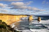 The Twelve Apostles, Victoria, Australia, near sunset.