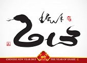 stock photo of chinese new year 2013  - Vector Snake Calligraphy - JPG