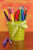 foto of non-permanent  - Colorful pencils and felt - JPG