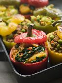 foto of sag  - Bell Peppers stuffed with Keema Sag Aloo and Vegetable Pilau - JPG
