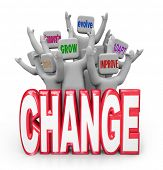 picture of evolve  - A team or group of cheering people behind the word Change - JPG