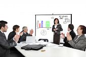 picture of applause  - Business woman drawing a diagram during the presentation and receiving applause - JPG