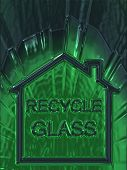 Green Bottle With Recycle Glass In The Home