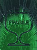 Fragile Glass Symbols On A Background Of Green Translucent Texture