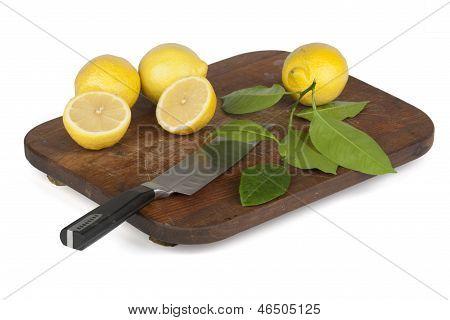 Frische Zitronenscheiben auf längliche Platte angeordnet