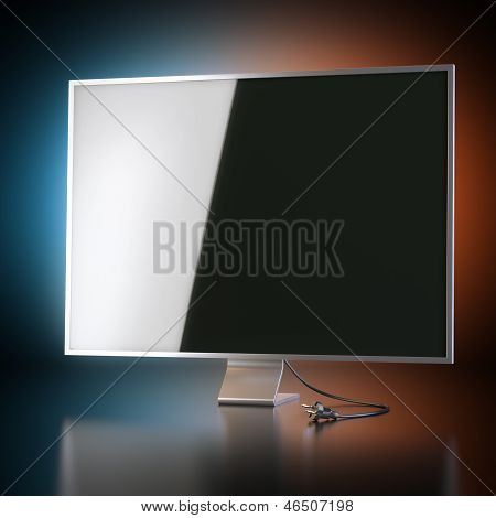 Modern Tv Screen On Artistic Background