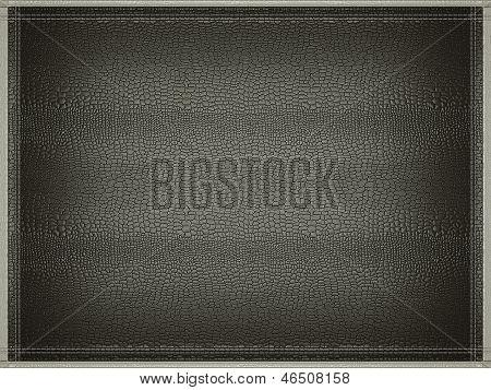 Black Mock Croc Or Alligator Skin Background With Stitched Frame