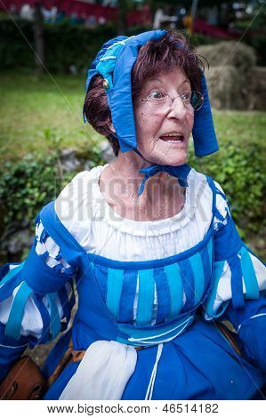Older Lady In Medieval Costume