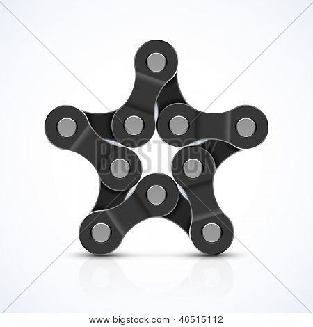 Bike chain star. Vector.