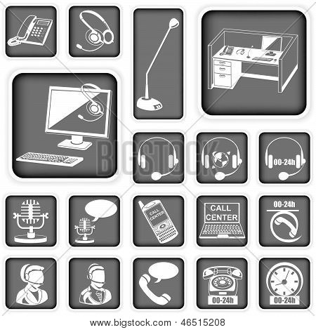 Call Center Squared Icons