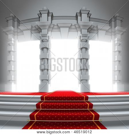 Red carpet way to the light portal. A 3d illustration of classical entrance to the future with red carpet.