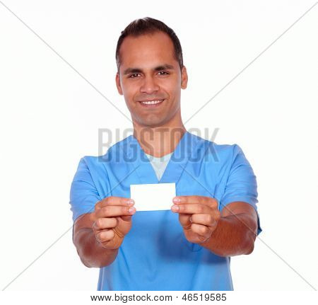 Smiling Male Nurse Holding Up White Business Card