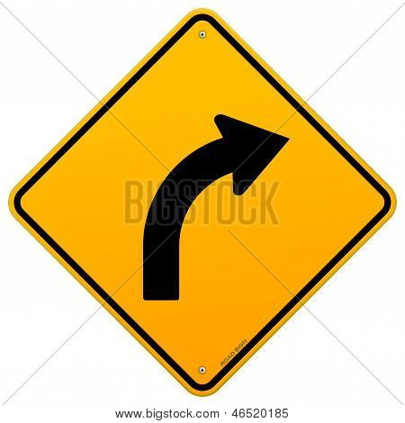 Yellow Curve Sign