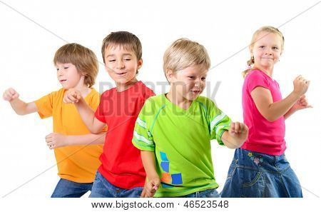 happy children dancing on a white background, healthy life, kid's togetherness and happiness concept