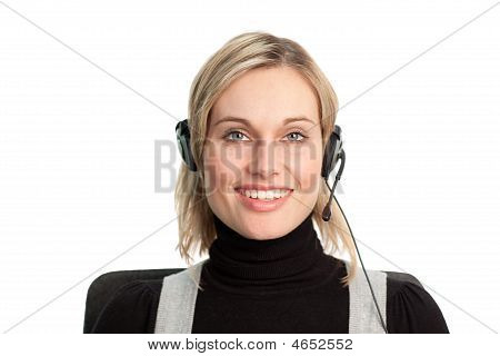 Pretty Business Woman Talking On Headset