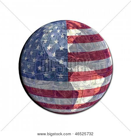 American flag globe with currency illustration