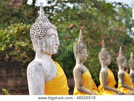 AYUTTHAYA - MARCH 2: Ancient Buddha Statues At Wat Yai Chai Mongkol, Ayutthaya, Thailand