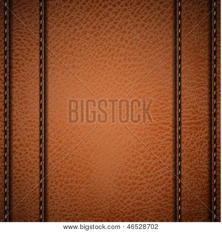 Stitched camel color leather background - eps10