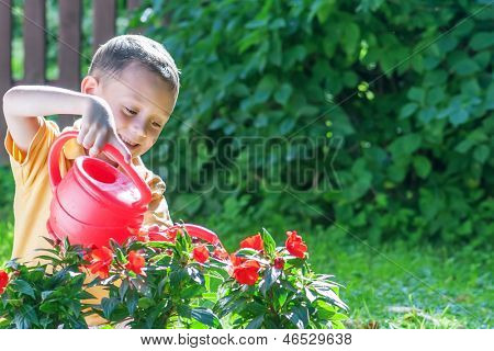 boy with watering can on garden
