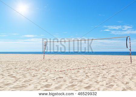 Beach A Volleyball Court At Sea. Summer.