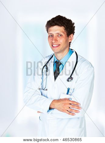 Portrait Of The Smiling Doctor In Interior