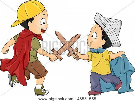 Illustration of Little Boys Playing Knight having a Swordsfight using Wooden Swords