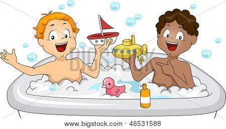 Illustration of Little Boys having a Bubble Bath