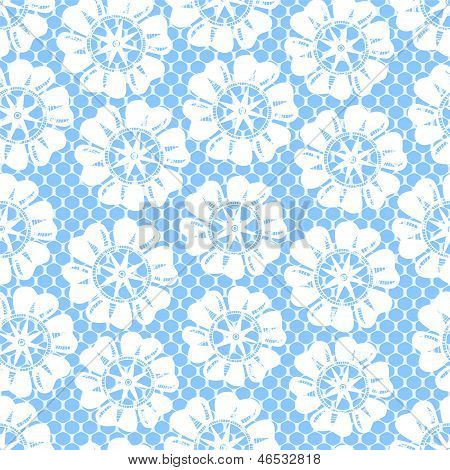 White lace and flowers on blue seamless pattern, vector