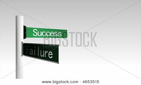 3D Computer Generated Signpost Of Succcess And Failure