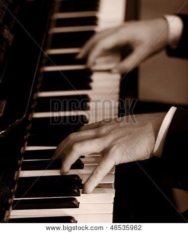 Pianist - sepia toned
